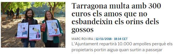 Tarragona multa amb 300 euros els amos que no esbandeixin els orins dels gossos